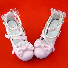 合皮 ゴム底 リボン バックル 24cm ゴスロリ靴 ピンク