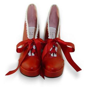 合皮 ゴム底 編上げ 厚底 24cm ゴスロリ靴 レッド