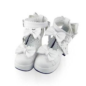 合皮 ゴム底 リボン ハイヒール 23.5cm ゴスロリ靴 ホワイト
