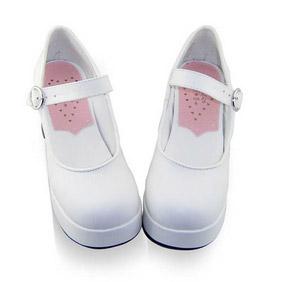 合皮 ゴム底 バックル ハイヒール ゴスロリ靴 ホワイト