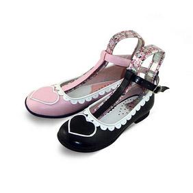 合皮 ゴム底 バックル 低ヒール 23.5cm ゴスロリ靴 ピンク/ブラック