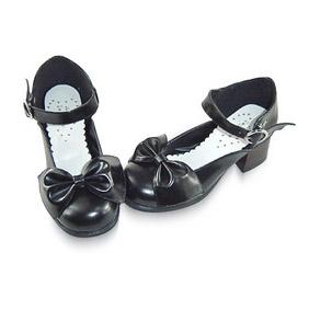 合皮 ゴム底 リボン バックル ミドルヒール 24cm ゴスロリ靴 ブラック