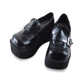 合皮 ゴム底 バックル 厚底 ハイヒール 24cm ゴスロリ靴 ブラック