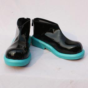 VOCALOID 初音ミク 黒と青 合皮 ゴム底 低ヒール コスプレ靴