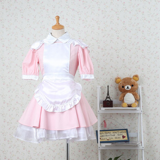 Sweet Pink Short Sleeves Lace Maid Dress