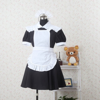 Black and White Short Sleeves Lace Maid Dress