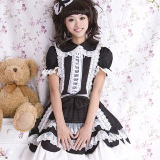 ロリィタ/ロリータ風 お姫様高級洋服 キュートワンピース 黒 綿質 ゴスロリ