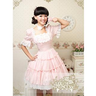 ロリィタ/ロリータワンピース かわいい 半袖 ピンク シフォン ワンピース ゴスロリ