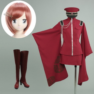 VOCALOID 千本桜 MEIKO 軍服 コスプレ衣装+コスプレウイッグ+コスプレブーツ 3点セット