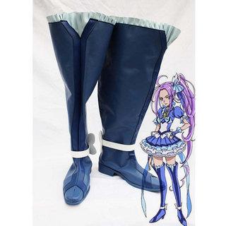 ふたりはプリキュア Pretty Cure ロングブーツ ブルー 合皮 ゴム底 低ヒール コスプレブーツ