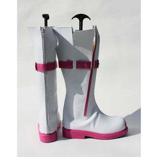 VOCALOID3 IA ホワイトとピンク 合皮 ゴム底 コスプレブーツ/コスプレ靴