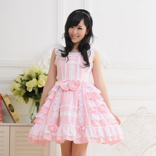即納◆ お嬢様 ピンク 大きいリボン ロリィタ/ロリータ ゴスロリ ロリィタ/ロリータジャンパースカート   女性Mサイズ