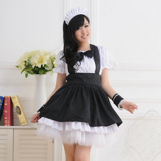 Black and White Short Sleeves Bowknot Lace Maid Dress