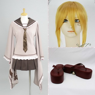 VOCALOID 千本桜 鏡音リン コスプレ衣装+コスプレウイッグ+靴 3点セット