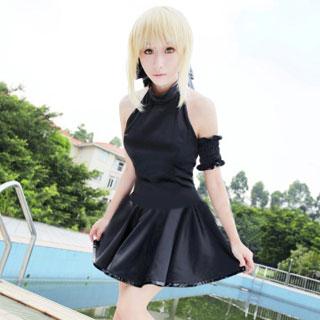 Fate/Zero Saber sleeveless black dress Cosplay Costume