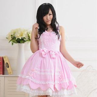 即納◆ ロリィタ/ロリータジャンパースカート プリンセス 可愛い リボン レース ピンク    女性Mサイズ