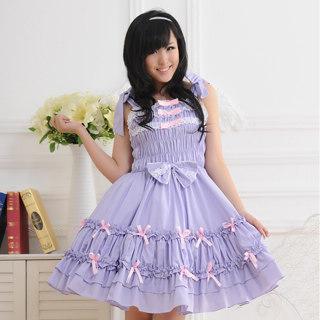 即納◆ ロリィタ/ロリータジャンパースカート プリンセス 超人気 シャーリング リボン レース 紫    女性Mサイズ