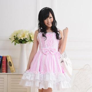 即納◆ ロリィタ/ロリータジャンパースカート 可愛い リボン レース ピンク    女性Mサイズ