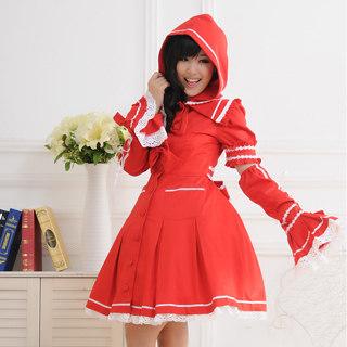ロリィタ/ロリータワンピース プリンセス 長袖 袖取りはずし リボン レース レッド 赤ずきん   女性Mサイズ