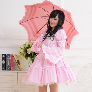 ロリィタ/ロリータワンピース プリンセス 可愛い 長袖 姫袖 袖取り レース ピンク