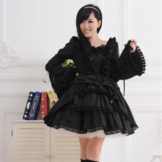 ゴシック服 ドレス/ロリータワンピース クラシック 長袖 姫袖 袖取り リボン フリル レース ブラック
