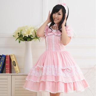 即納◆ ロリィタ/ロリータワンピース プリンセス 超可愛い 長袖 姫袖 袖取り リボン付き フリル レース ピンク   女性Mサイズ