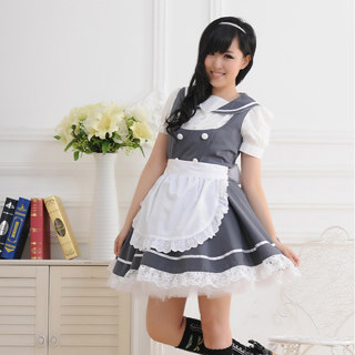 即納◆ メイド服 大人気 学園風 超可愛い 半袖 レース グレーとホワイト コスチューム  女性Mサイズ