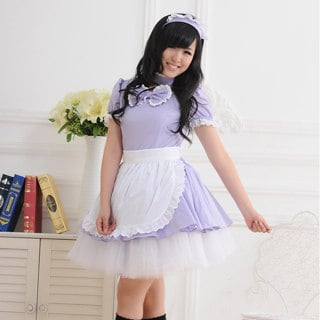 即納◆ メイド服 クラシック 半袖 リボン付き レース 紫 コスチューム  女性Mサイズ