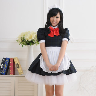Black White Short Sleeves Red Bowknot Maid Dress