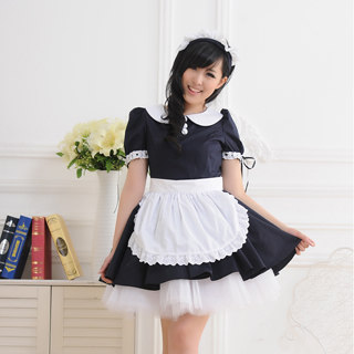 Black White Short Sleeves Lace Maid Dress