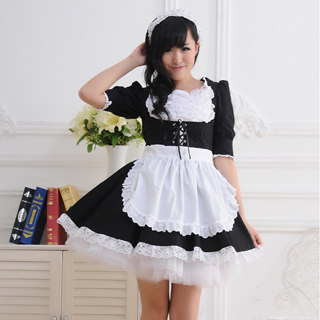 Black White Bowknot Sash Bandage Striped Lace Maid Dress