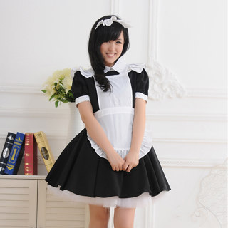 Black White Bowknot Lace Maid Dress