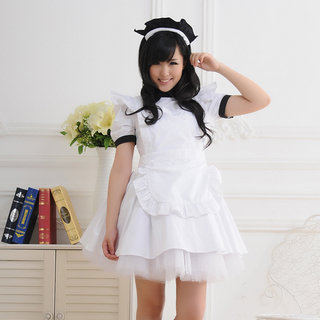 White Short Sleeves Black Turndown Collar Maid Dress