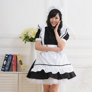 Black White Short Sleeves Corset Maid Dress