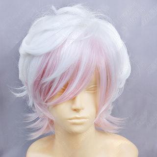 即納◆ DIABOLIK LOVERS 逆巻スバル ホワイト·ピンク ショート 巻き髪 コスプレウィッグ