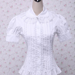 ロリィタ/ロリータ お嬢様 白 半袖 白フリル レースたっぷり ブラウス ゴスロリ ゴスロリ