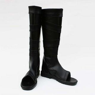 NARUTO -ナルト- カカシ班(第七班) サイ ブラック ロング 合皮 ゴム底 フラットヒール コスプレブーツ