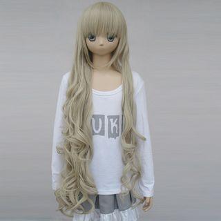COS通用 普段着もok 男女通用 ファッション 灰みがかったイエロー スーパーロング 巻き髪 前髪ぱっつん コスプレウィッグ