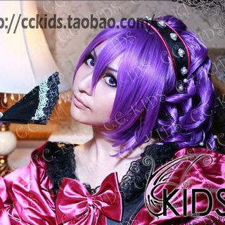 黒子のバスケ 陽泉高校 紫原敦(むらさきばら あつし) 紫 セミロング コスプレウィッグ