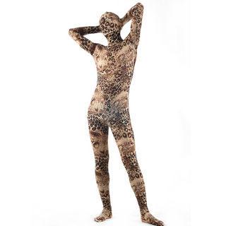 通気 柔らかい 薄い ブラウン柄 ライクラ 高い伸縮性 弾力の生地 全身タイツ ボディスーツ 仮装 コスチューム