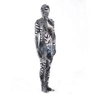 通気 柔らかい シマウマ柄と豹柄 ライクラ ブラックとホワイト 良い伸縮性 弾力の生地 全身タイツ ボディスーツ 仮装 コスチューム