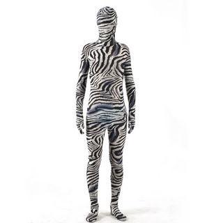 通気 柔らかい 薄い シマウマ柄 ブラックとグレー ライクラ 高い伸縮性 弾力の生地 全身タイツ ボディスーツ 仮装 コスチューム