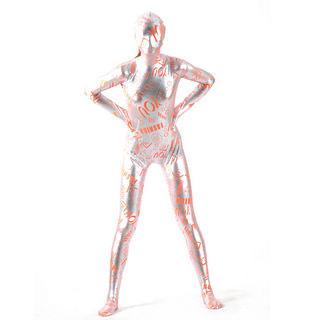 通気 柔らかい 字柄 紋様 シルバーとオレンジ メタリック ライクラ 中等の弾力性 全身タイツ ボディスーツ 仮装 コスチューム