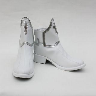 ソードアート·オンライン アスナ/ 結城明日奈(ゆうき あすな) ホワイト ショート 合皮 ゴム底 フラットヒール コスプレ靴