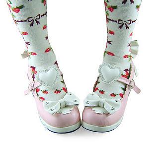 合皮 ゴム底 リボン バックル ミドルヒール ピンクとホワイト ロリータ靴 ゴスロリ靴