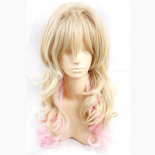 DIABOLIK LOVERS -ディアボリックラヴァーズ- 小森ユイ(こもり ユイ)ゴールド/ピンク 巻き髪 耐熱新素材 ロング コスプレウィッグ