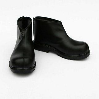 銀魂 沖田総悟(おきた そうご) ブラック 合皮 ゴム底 低ヒール コスプレ靴