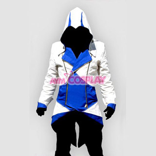 Assassin`s Creed III Conner Kenway Casual White Blue Hoodie Jacket Cosplay Costume