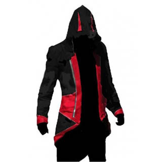 Assassin`s Creed III Conner Kenway Casual Black Red Hoodie Jacket Cosplay Costume