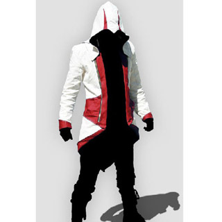 Assassin`s Creed III Conner Kenway Casual White Red Hoodie Jacket Cosplay Costume